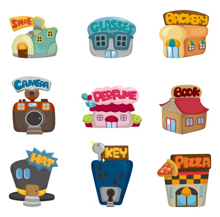 business shoes: cartoon house  shop icons collection