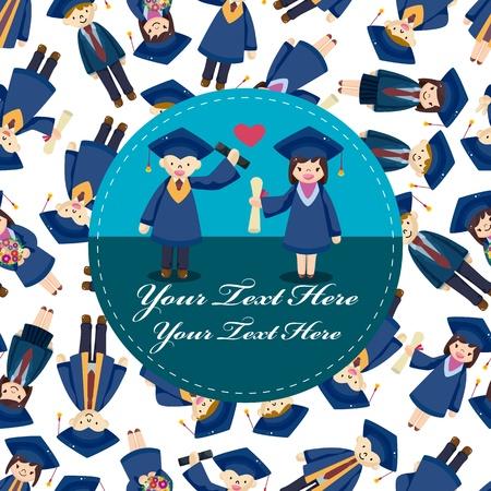 graduacion ni�os: tarjeta de estudiante de dibujos animados