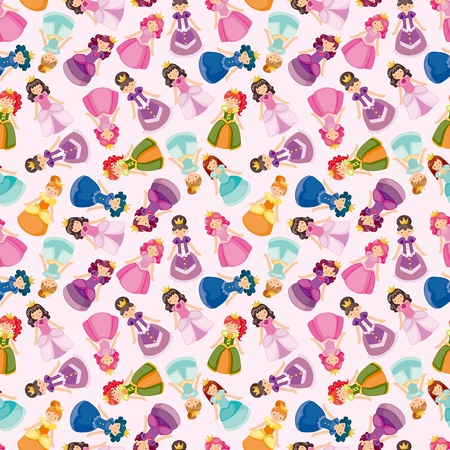 child girl nude: cartoon beautiful princess seamless pattern  Illustration