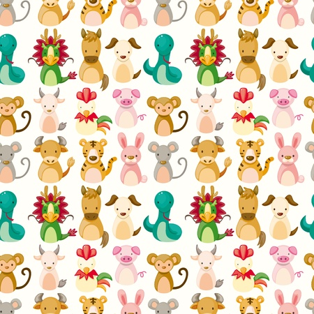 Chinese Zodiac animal seamless pattern  Vector