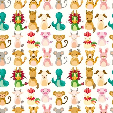 Chinese Zodiac animal seamless pattern  Vector
