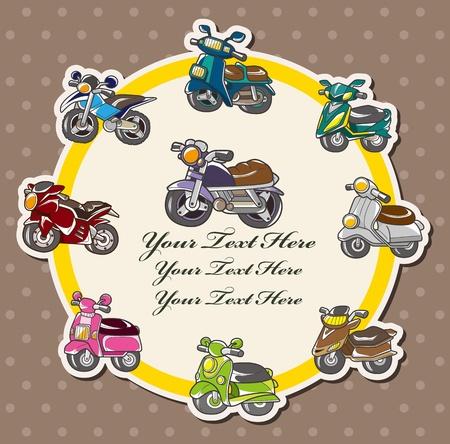cartoon motorcycle card Vector