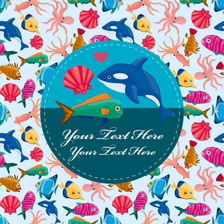 cartoon fish card Stock Vector - 10848366