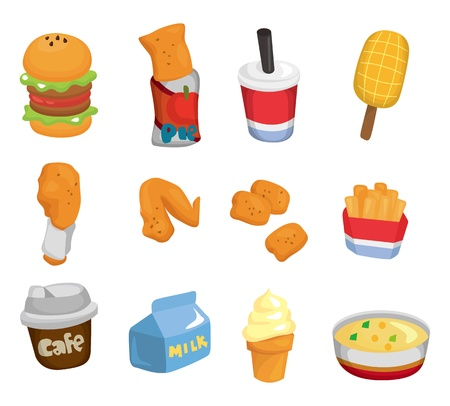 fried noodles: cartoon fast food icon  Illustration
