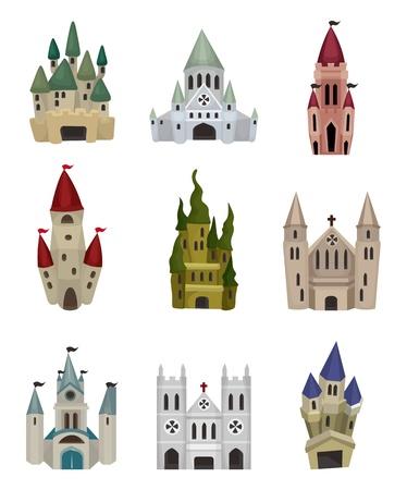 icono de Castillo de cuento de hadas de dibujos animados