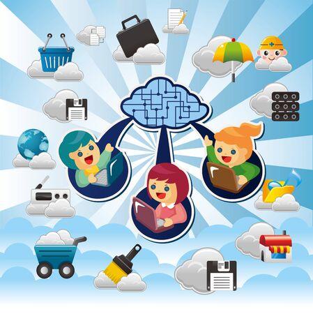 computer service: Cloud-Netzwerk