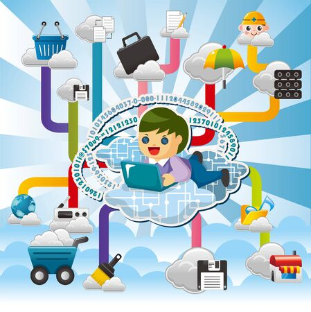 Cloud network,with business man hold pad. Stock Vector - 10886805