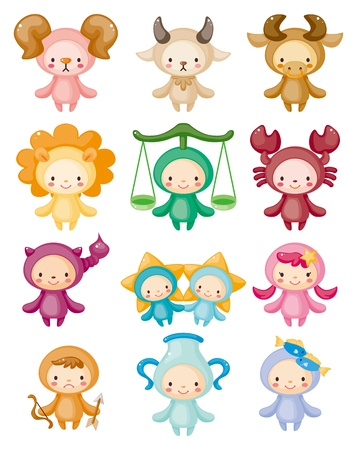 aquarius star: Set of isolated cute zodiac symbols