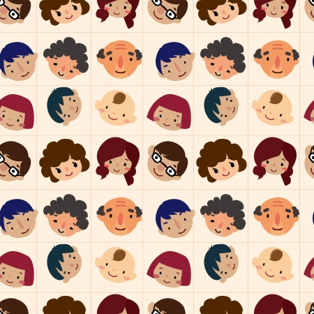 cartoon family head seamless pattern Vector