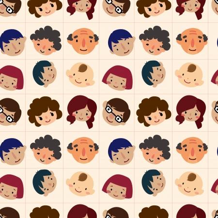 cartoon family head seamless pattern