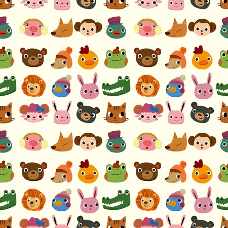 cartoon animal face pattern seamless Vector