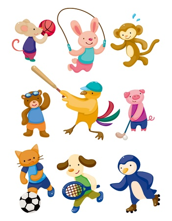 gymnastics sports: cartoon animal sport player