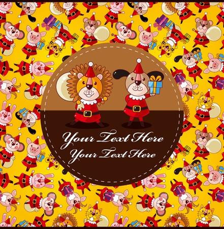 cartoon animal Santa Claus,xmas card  Vector