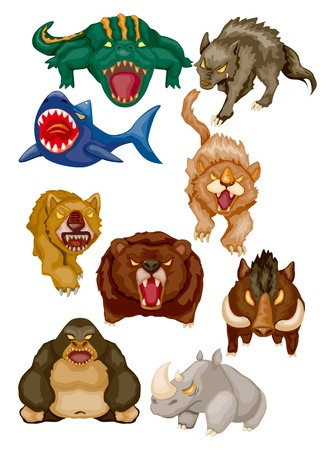 ferocious: cartoon angry animal icons Illustration