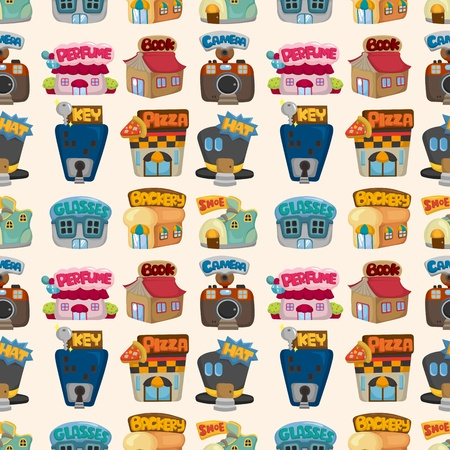 business shoes: cartoon house  shop seamless pattern