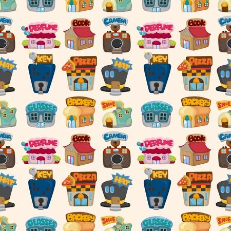 food store: cartoon house  shop seamless pattern