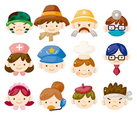 profesiones: los dibujos animados iconos de la cara de trabajo