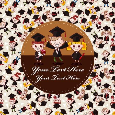 fondo de graduacion: dibujos animados tarjeta de estudiante
