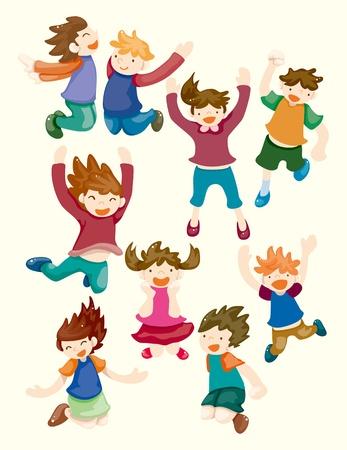 icônes de dessin animé enfant de sauter