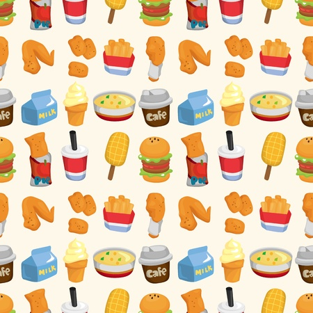 seamless fast food pattern Stock Vector - 10963476