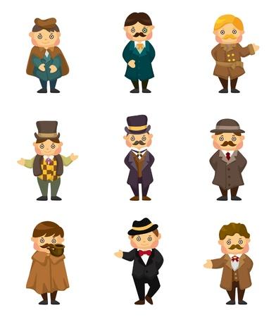 gentlemen: cartoon retro gentleman icon