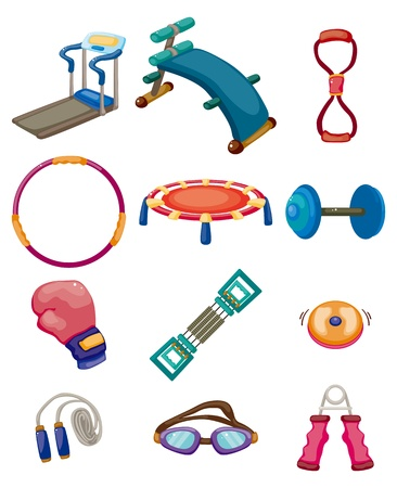 cartoon Fitness Equipment icons Vector