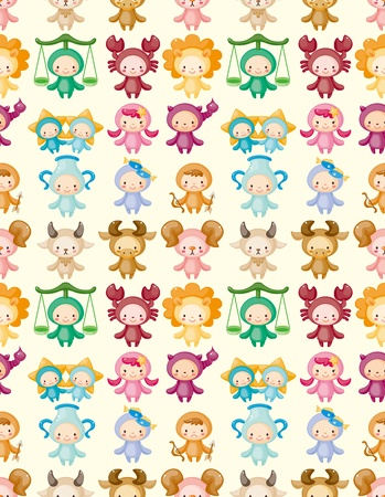cartoon scorpion: cute zodiac symbols seamless pattern