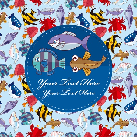 cartoon fish card Vector