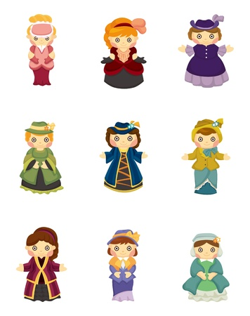 cartoon Medieval beautiful girls. Vector
