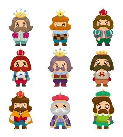 cartoon king icons set