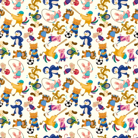 cartoon animal sport player seamless pattern Vector