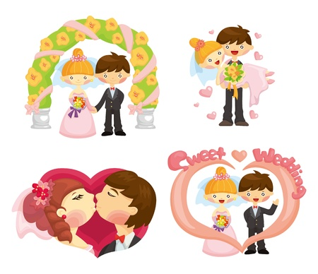 lovers embracing: cartoon wedding set Illustration