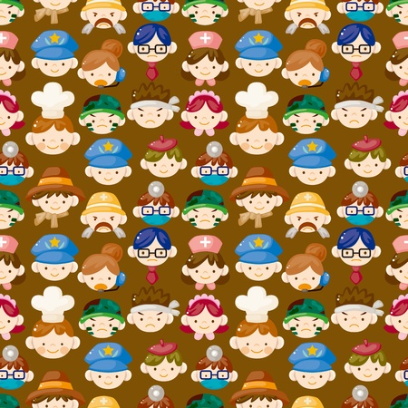 cartoon people face seamless pattern Vector