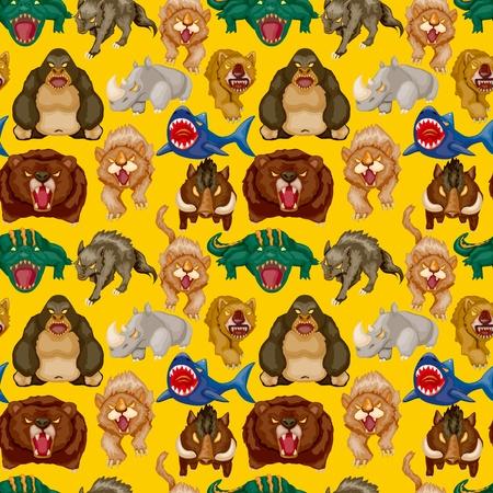 cartoon angry animal seamless pattern Vector