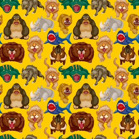 cartoon angry animal seamless pattern Vector