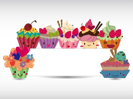 cartoon cake card  Vector