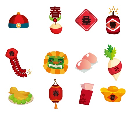chinese food: Chinese New Year decorative elements