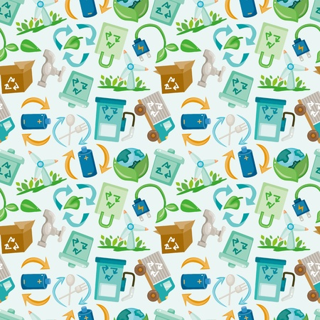 seamless eco icon pattern  Vector