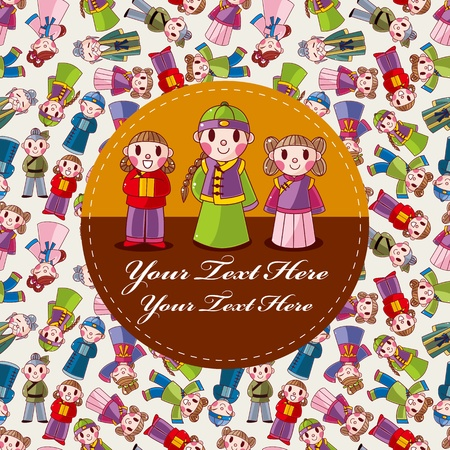 cartoon chinese people card  Vector