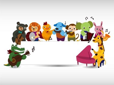 cartoon animal: animal play music card  Illustration