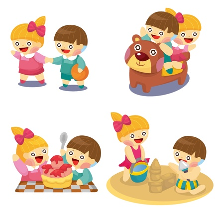 cartoon kids playing set Vector
