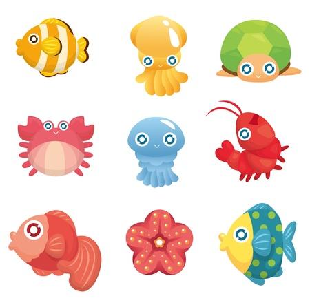 squids: cartoon aquatic animal set