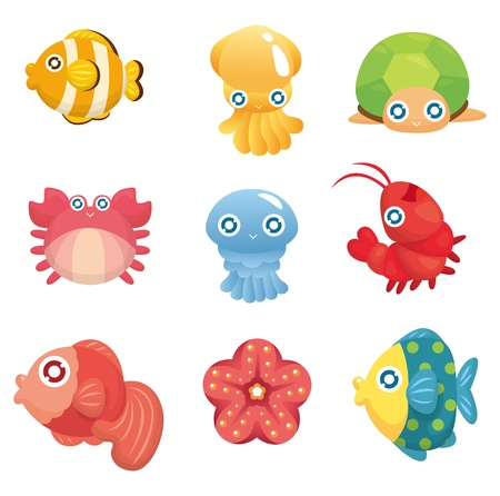 dibujos animados de animales acu�ticos establecidos