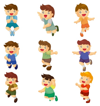 cartoon child jump icons  Vector