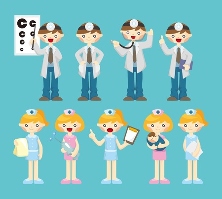 cartoon doctor and nurse icon  Vector