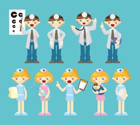 hospital germ: cartoon doctor and nurse icon