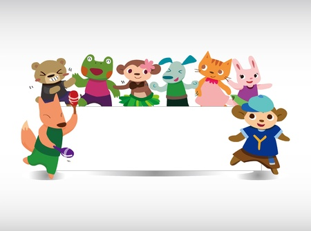 cartoon animal dance card