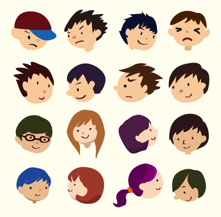 cartoon young people face icon  Vector