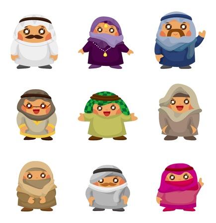 cartoon Arabian people icons Vector