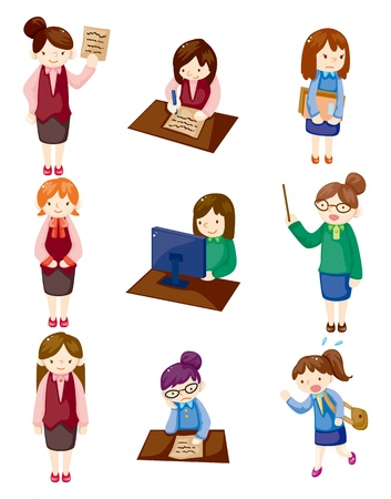 work clothes: cartoon pretty office woman worker icon set